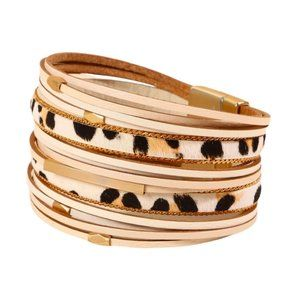 Ivory leather and animal print bracelet